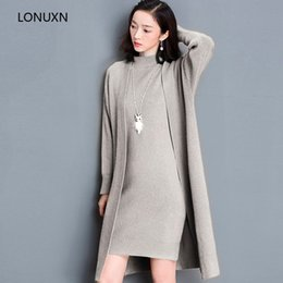 Discount korean two piece dresses woman - High quality girls Autumn winter new Korean fashion sweater two-piece suit long-sleeved sweater Slim women's dress