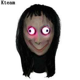 Style wig men online shopping - Glowing Death Game MOMO Mask No Bang Style SCARY Mask Tern Halloween Female Ghost Wig Masks Festival Party Playing Supplies