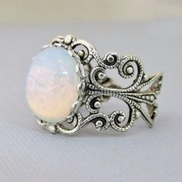 $enCountryForm.capitalKeyWord Australia - Vintage Hollow White Large Gemstone Ring With Adjustable Opening For Both Men And Women Fantasy Solitaire Ring
