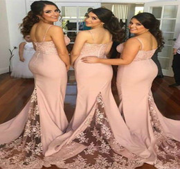 pink tail dresses 2019 - Dusty Pink Country Mermaid Bridesmaid Dresses Cheap Spaghetti Straps Illusion Lace Tails Long Bohemian Beach Wedding Gue