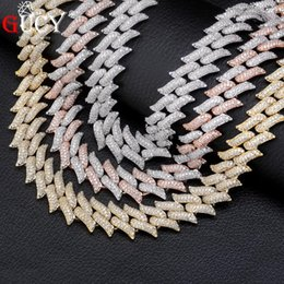 Discount hip hop silver chains men - GUCY 16mm Miami Cuban Chains Necklace For Men Gold Silver Color Hip Hop Iced Out Paved Bling CZ Rapper Necklace Jewelry