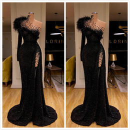 Champagne long feather dresses online shopping - Aso Ebi Arabic Black Sexy Sequined Evening Dresses Beaded Feather Mermaid Prom Dresses High Split Formal Party Second Reception Gowns
