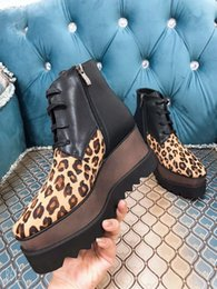 $enCountryForm.capitalKeyWord Australia - 2019 ss spring black leather Leopard Print wedge Platform sole womens Casual Shoes lace up high top sneakers