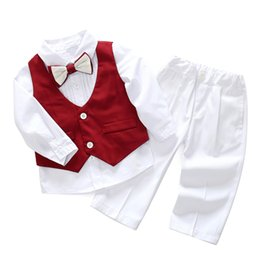 $enCountryForm.capitalKeyWord Australia - Toddler Boys Clothes for Baby Formal Dress White Shirt with Bow-tie + Red Vest + White Pants 1-5 T Child Wedding Dress 3Pieces