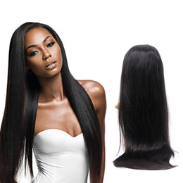 $enCountryForm.capitalKeyWord NZ - No shedding glueless no tangle unprocessed virgin remy human hair natural color silky straight full lace cap top wig for girl