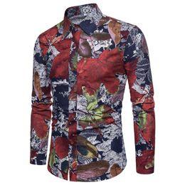 Shirts Flower For Man Australia - Casual Blouse Men Floral Hawaiian Shirt Men's clothing Slim fit Social Shirt for Men Long Sleeve Plus size Flower