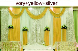 Discount wedding backdrop beads 10ftX20ft Sequins Beads Edge Design Fabric Satin Drape Curtain yellow Swag With Silver Sequin Fabric For Wedding Decor P