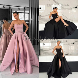Fitted Laced Prom Dresses Australia - Sexy Black High Slits Prom Dresses Long 2019 Elegant Strapless Lace Up Satin Formal Evening Gowns With Belt Fitted robes de soirée longue