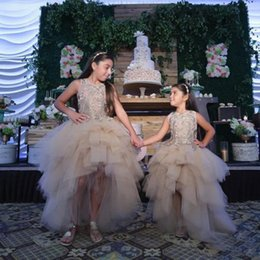Line Wedding Dress Kids Australia - Champagne A Line Lace High Low Flower Girl Dresses For Wedding Sheer Jewel Neck Appliqued Pageant Gowns Tulle Tiered Kids Prom Dress