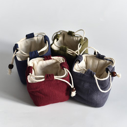 Tea Jewelry Australia - Square Bottom Thicken Linen Jewelry Travel Pouch Cloth Drawstring Bags Cotton filled Portable Small Cup Tea Set Storage Pouch