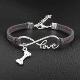 dog chain bracelet Canada - Hot Boho Multilayer Infinity Love Dog Bone Charm Bracelet & Bangles Woman Vintage Dark Gray Leather Rope Cuff Jewelry for Women Men Pulseras