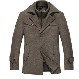wool pea jacket Canada - Winter Wool Coat Men Slim Fit Jacket Mens Fashion Outerwear Warm Male Casual Jackets Overcoat Woolen Pea Coat Plus Size XXXXL