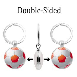 Necklaces Pendants Australia - 2019 new fashion necklace cross-border hot accessories football pattern time gem double-sided keychain silver alloy key ring pendant