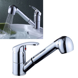 led pull out kitchen taps UK - Kitchen Tap Single Handle 360 Degree Swivel Rotation Pull Out Sink Water Saving Hot Cold Mixer Bathroom CORC