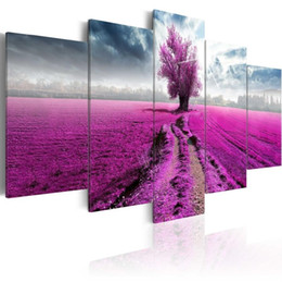 $enCountryForm.capitalKeyWord Australia - ( No Frame)5PCS Set Modern Landscape Purple Land Tree Art Print Frameless Canvas Painting Wall Picture Home Decoration