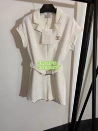 Vintage girl brooch online shopping - Milan women s girls vintage brief tweed jacket Coat Blazer jumpsuit with brooch the high end custom fashion Luxury Designer blazer shorts