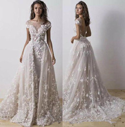 CasCade laCe online shopping - Dimitrius Dalia Mermaid Wedding Dresses with Detachable Train Cap Sleeve D Floral Lace Backless Beach Trumpet Bride Wedding Gown