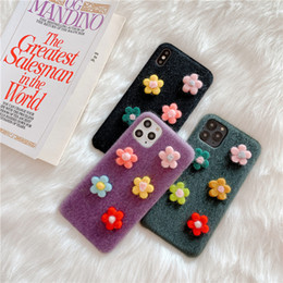 Cute plush iphone Cases online shopping - INS korean plush D cute floral flowers cell Phone Cases for iPhone pro max X XR XS Max s plus plus plus Soft TPU Back Cover