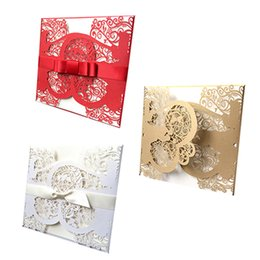 Discount beautiful invitation cards 10pcs Hollow invitation personalized invitation beautiful wedding embossed bride groom couple cards