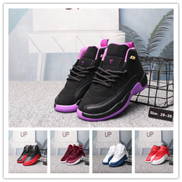 Pink Grey Basketball Shoes Australia - Boys Girls 12 12s Gym Red Hyper Chicago Violet Purple Kids Basketball Shoes Childrens Pink White Blue Dark Grey Toddlers youth Birthday Gift