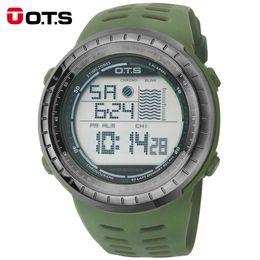 Men Digital Wrist Watches NZ - New OTS 7025G Men Waterproof Sports Army Green Silicone Strap Luminous Digital Wrist Watches Relogio Masculino 2016 fashion