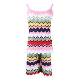 $enCountryForm.capitalKeyWord NZ - Knitted 2 Piece Set Women 2019 Summer Hit Color Wavy Striped Spaghetti Straps Vest Top and High Waist Shorts Two Piece Suits