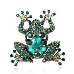 frog brooches Australia - High-grade retro frog brooch green crystal diamond animal brooch European and American hot-selling jewelry factory direct sales
