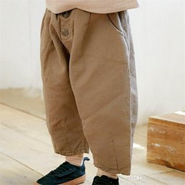 low waist pants boys Australia - Fall INS New Summer Kids Boys Girls Trousers Tatting Cotton Fabric Fashion Blank Front Buttons Pockets Vintage Elastic Waist Children Pants