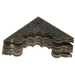 $enCountryForm.capitalKeyWord UK - 3ets Lot _ 12pcs set Bronze Decorative Antique Brass Jewelry Wine Gift Box Wooden Corner Protector Guard 55x40mm