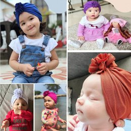 baby pullover NZ - 2019 ins hot style new children's pleated flower hat new baby cotton Indian pullover hat