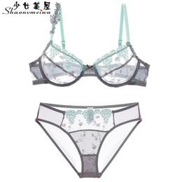 $enCountryForm.capitalKeyWord NZ - Shaonvmeiwu Ultrathin model sexy lace embroidery thin transparent gauze underwear bra bigger sizes without sponge