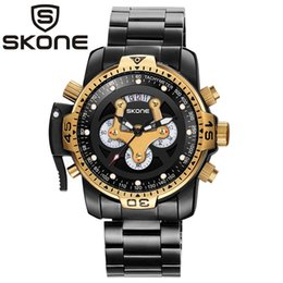 $enCountryForm.capitalKeyWord Australia - Skone Men Top Unique Casual Fashion Steel Band Sport Wristwatches Man Quartz Chronograph Army Waterproof Watches