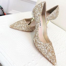 Discount valentines day wedding dresses - 2019 summer new top wedding shoes bride and lady Valentines Day gift new fashion sexy sequins silk dress shoes high heel