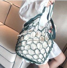Mesh Fiber Australia - Hollow Out Mesh Design Women Handbag Canvas String Composite Bags Brand PU Leather Summer Beach Bags Holiday Women Tote 2019 New