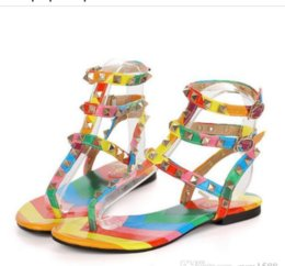 813b33ac4885da Size 34-45 rainbow color gladiator sandals women designer brand rivets flip  flops T strap-sandals ankle belt Roman shoes