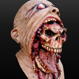 animal scary halloween costumes Canada - Top Grade !!!Realistic Latex Zombie Halloween Mask Melting Horror Bloody Mask Costume Dead Scary Head Masks Bloody
