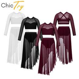 Dance Tutus Australia - ChicTry Kids Teens Long Sleeve Tulle Lyrical Dance Costume Set Girls Crop Top with Ballet Tutu Skirt Gymnastics Shorts Dancewear