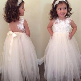 little girls bows Australia - Cute Flower Girl Dresses For Weddings A-line Tulle Appliques Lace Bow Long First Communion Dresses Little Girl