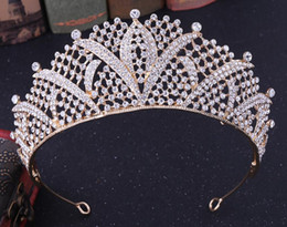 celtic crowns tiaras 2019 - New Europe and the United States bride jewelry bride crown tiara tiara hair hoop bride crown wholesale cheap celtic crow