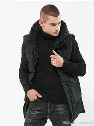 Mens roupas de inverno longo comprimento grosso com capuz colete sem mangas de algodão casaco quente preto moda lazer outerwear em Promoção