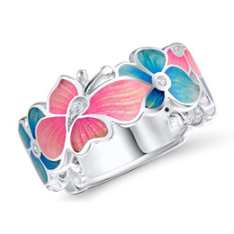 pink blue rings Australia - Trendy Flower Butterfly Pattern Ring Pink Blue Color Finger Ring For Women Wedding Engagement Party Jewelry Accessory Gift
