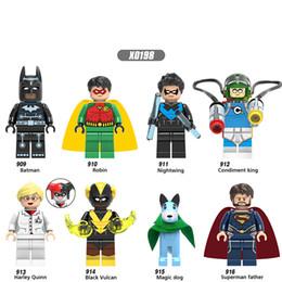 Dc Superman Figure Australia - X0198 DC Superhero Figure Superman Father Magic Dog Batman Nightwing Harley Quinn Black Vulcan Robin Building Blocks Brick Toys