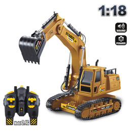 excavators toys Australia - XM RC Excavator& Digger Model Toy, 2.4G 10 Channels, 1:18 Big Size, 680° Rotation, with Simulation Sound& Lights, for Xmas Kid Birthday Gift