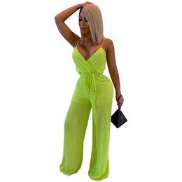 Chinese  Womens Spaghetti Strap Rompers High Waist Summer Sexy Backless Wide Legs Jumpsuit V-Neck Female Bodysuit Long Trouser manufacturers