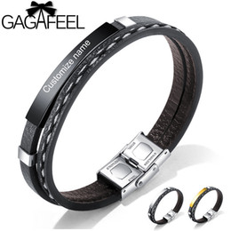 $enCountryForm.capitalKeyWord NZ - Cheap Charm Bracelets GAGAFEEL 21CM Leather Bracelets for Men DIY Customizable Engraving Stainless Steel Bar Bangles Personalized Pulseira