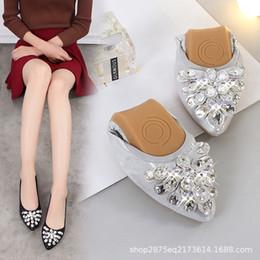 $enCountryForm.capitalKeyWord Australia - Women's Rhinestone Flats Soft Sole Comfortable Pregnant Shoes Female Foldable Boat Ballet Shoes for Bridal - Crystal Flower