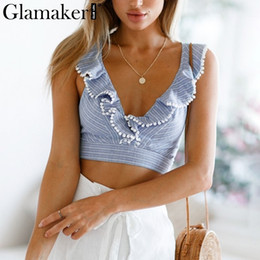 7d21ff2340 Glamaker Elegant Ruffle Stripe Print Sexy V Backless Summer Crop Top Cami  Women Lace Up Casual Camisole Tank Blouse Q190522