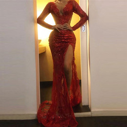 Wholesale see sided dress for sale – plus size Red Sexy Mermaid Prom Dresses Lace Sequins Appliques Side High Split See Through Mermaid Evening Dress Sheer Neck Party vestidos de fiesta