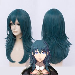 Discount role playing games - Fire Emblem ThreeHouses Wig Byleth Long Blue Straight Middle Long Short Cosplay Hair Halloween Role Play