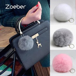 $enCountryForm.capitalKeyWord Australia - Zoeber New Artificial Rabbit Fur Ball Keychain Cute Pompom Key Ring Lovely Fluffy Fur Rabbit Ear Pendant Keychain Rings women